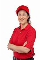 fat italian woman - A pizza delivery woman isolated on white Stock Photo - Royalty-Freenull, Code: 400-04556771