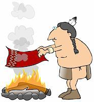 This illustration depicts an American Indian sending smoke signals from a campfire. Stock Photo - Royalty-Freenull, Code: 400-04558443