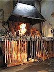 Interior of a smithy with tools and fire Stock Photo - Royalty-Free, Artist: Laures                        , Code: 400-04560058