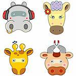 A group of happy animal face, Vector file of animals. Stock Photo - Royalty-Free, Artist: mylefthand                    , Code: 400-04560543