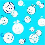 Seamless children and mother heads pattern in blue Stock Photo - Royalty-Free, Artist: sahua                         , Code: 400-04561905