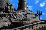 Lateral view of a locomotive against the blue sky Stock Photo - Royalty-Free, Artist: myper                         , Code: 400-04564664