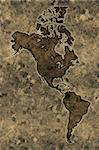 Americas map on an ancient grunge parchment sheet background Stock Photo - Royalty-Free, Artist: myper                         , Code: 400-04564665