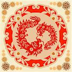 Traditional paper cut of a dragon.(fifth of Chinese Zodiac). Stock Photo - Royalty-Free, Artist: mylefthand                    , Code: 400-04565695