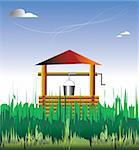 Out-of-town house. The country. A wooden well is in a grass. Stock Photo - Royalty-Free, Artist: leonido                       , Code: 400-04566908