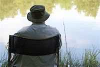 fishing - An old man enjoys a perfect day of fishing Stock Photo - Royalty-Freenull, Code: 400-04567370