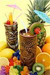Tropical drinks served in Tiki style glasses and fruits Stock Photo - Royalty-Free, Artist: jlvimageworks                 , Code: 400-04571537