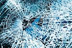 Close-up at broken car windshield. Tint blue Stock Photo - Royalty-Free, Artist: Sergius                       , Code: 400-04575275