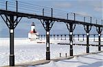 Michigan City Pierhead Breakwater Lights and Fog Signal, Michigan City, Indiana, USA Stock Photo - Royalty-Free, Artist: oralleff                      , Code: 400-04576857