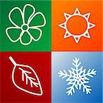 four seasons background fully editable vector illustration