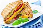 Grilled cheese and tomato sandwich on a plate Stock Photo - Royalty-Free, Artist: Elenathewise                  , Code: 400-04586204