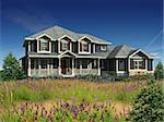 3d Model of estate house photo-matched in landscaped foreground Stock Photo - Royalty-Free, Artist: 3000ad                        , Code: 400-04586593