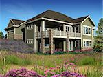 3d Model of estate house photo-matched in landscaped foreground Stock Photo - Royalty-Free, Artist: 3000ad                        , Code: 400-04586594