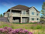 3d Model of estate house photo-matched in landscaped foreground Stock Photo - Royalty-Free, Artist: 3000ad                        , Code: 400-04586597