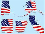 Alabama, Alaska, Arizona, Arkansas and California outlines with flags, each individually grouped Stock Photo - Royalty-Free, Artist: adroach                       , Code: 400-04589447