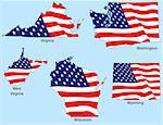 Virginia, Washington, West Virginia, Wisconsin, Wyoming outlines with flags, each individually grouped Stock Photo - Royalty-Free, Artist: adroach                       , Code: 400-04589448