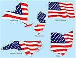 New York, New Jersey, North Dakota, North Carolina, Ohio outlines with flags, each individually grouped Stock Photo - Royalty-Free, Artist: adroach                       , Code: 400-04589454