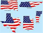 South Dakota, Tennessee, Texas, Utah and Vermont outlines with flags, each individually grouped Stock Photo - Royalty-Free, Artist: adroach                       , Code: 400-04589456