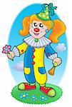 Cartoon clown girl on meadow - color illustration. Stock Photo - Royalty-Free, Artist: clairev                       , Code: 400-04589557