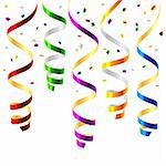 Vector illustration of curled party streamers.