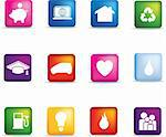 Vector icon set of detailed 3d home icons coloured buttons  Stock Photo - Royalty-Free, Artist: joingate                      , Code: 400-04589701