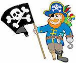 Pirate with flag - vector illustration. Stock Photo - Royalty-Free, Artist: clairev                       , Code: 400-04591514