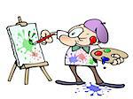 focused male artist squinting while painting colorful splatters on a canvas Stock Photo - Royalty-Free, Artist: gnurf                         , Code: 400-04592428