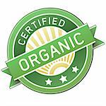 Certified organic food label or sticker for use in websites, packaging, or print materials Stock Photo - Royalty-Free, Artist: lhfgraphics                   , Code: 400-04596749