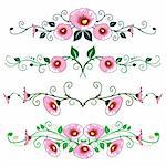 Flower ornaments on white background