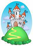 Fairy tale castle with clouds - color illustration. Stock Photo - Royalty-Free, Artist: clairev                       , Code: 400-04604860