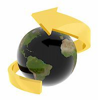3d image of earth with black sea and a golden arrow around the globe Stock Photo - Royalty-Freenull, Code: 400-04605125