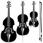 Stringed instruments in detailed vector silhouette.  Set includes violin, viola, cello, upright bass, and bow. Stock Photo - Royalty-Free, Artist: lhfgraphics                   , Code: 400-04606988