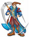a digitally illustrated colorful anime warrior Stock Photo - Royalty-Free, Artist: dotsnpixels                   , Code: 400-04607495