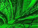 Organic green interior - architectural concept