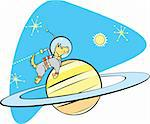 Retro Space Dog flies by planet Saturn. Stock Photo - Royalty-Free, Artist: xochicalco                    , Code: 400-04610399