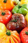 Close up group of multi colored heirloom tomatoes Stock Photo - Royalty-Free, Artist: Elenathewise                  , Code: 400-04612804