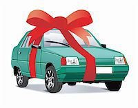 Vector illustration of car as a gift Stock Photo - Royalty-Freenull, Code: 400-04613757