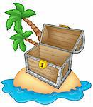 Pirate island with open chest - color illustration. Stock Photo - Royalty-Free, Artist: clairev                       , Code: 400-04616168