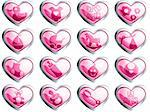 16 glossy heart-shaped baby themed buttons. Graphics are grouped and in several layers for easy editing. The file can be scaled to any size.
