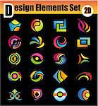 Colorful Set of 20 Design Elements Stock Photo - Royalty-Free, Artist: DavidArts                     , Code: 400-04619335