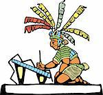 Mayan Scribe designed after Mesoamerican Pottery and Temple Images.