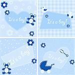 Four designs for birth announcement cards, baby-showers etc. Graphics are grouped and in several layers for easy editing. The file can be scaled to any size.