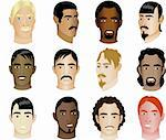Twelve different Men of different races and cultures with or without colorful background, see my other illustrations. Diversity Stock Photo - Royalty-Free, Artist: BasheeraDesigns               , Code: 400-04621721