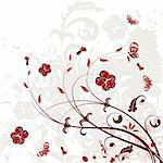 Grunge Floral background with butterfly, element for design, vector illustration