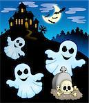 Ghosts with haunted house - color illustration. Stock Photo - Royalty-Free, Artist: clairev                       , Code: 400-04622640