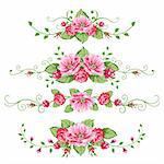 Banner in the victorian style with roses. Design elements for your design.