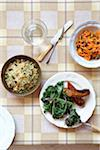 Kale and Sausages, Grain Salad and Carrot Salad Stock Photo - Premium Royalty-Free, Artist: Jodi Pudge, Code: 600-04625545