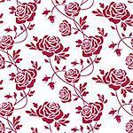 Romantic roses seamless pattern on white