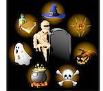 Halloween icons set Stock Photo - Royalty-Free, Artist: lazarev                       , Code: 400-04631079