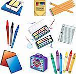 Nine vector school icon elements.